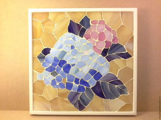 """Картины цветов ручной работы. Ярмарка Мастеров - ручная работа. Купить мозаика из стекла,, Гортензия"""". Handmade. Комбинированный, интерьер, гортензия"""