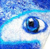 Аксессуары ручной работы. Ярмарка Мастеров - ручная работа Варежки цвета лошадиного индиго, синий, космос, глаза, око, взгляд. Handmade.
