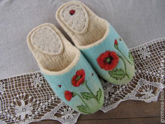 """Обувь ручной работы. Ярмарка Мастеров - ручная работа. Купить Тапочки валяные,из войлока."""" Весенний луг"""". Handmade. Разноцветный"""