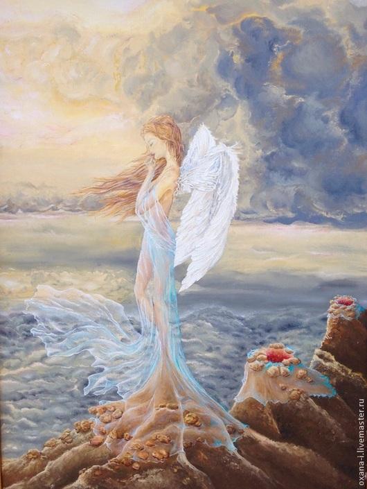 Абстракция ручной работы. Ярмарка Мастеров - ручная работа. Купить Ангел.. Handmade. Картина маслом, ангел, багет, платье