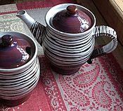 Посуда ручной работы. Ярмарка Мастеров - ручная работа Чайник и сахарница полосатые. Handmade.