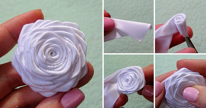 Роза из цельной атласной ленты своими руками 176