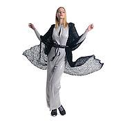 Одежда ручной работы. Ярмарка Мастеров - ручная работа Кардиган удлиненный с капюшоном легкий и теплый из альпаки на шелке. Handmade.