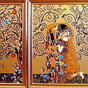 """Картины и панно ручной работы. Ярмарка Мастеров - ручная работа """"Опять Климт"""" триптих Витражная роспись стекла. Handmade."""