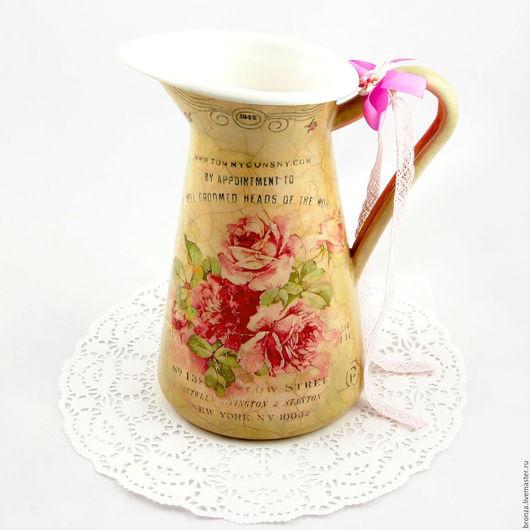 """Графины, кувшины ручной работы. Ярмарка Мастеров - ручная работа. Купить Кувшин """"Sweet memories"""". Handmade. Бежевый, винтаж, розы"""
