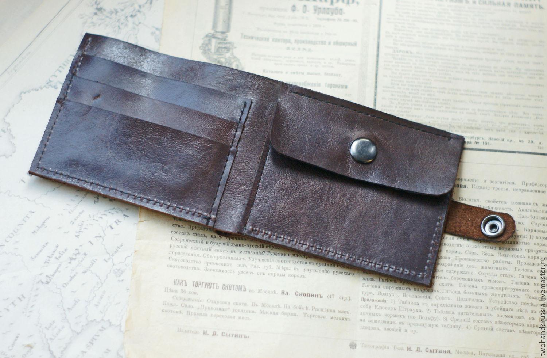 a4d9e1a29001 Кошельки и визитницы ручной работы. Мужской кошелек из натуральной кожи с  гравировкой. TwoHandsRussia.
