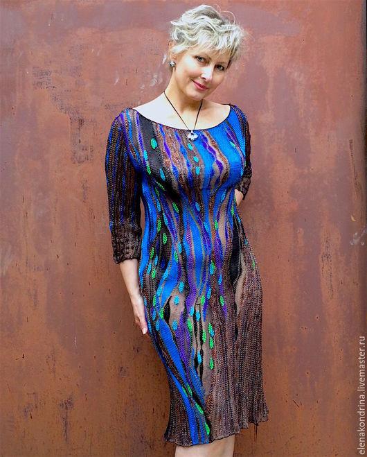 """Платья ручной работы. Ярмарка Мастеров - ручная работа. Купить Льняное платье """"Звездный путь"""". Handmade. Комбинированный, лен италия"""