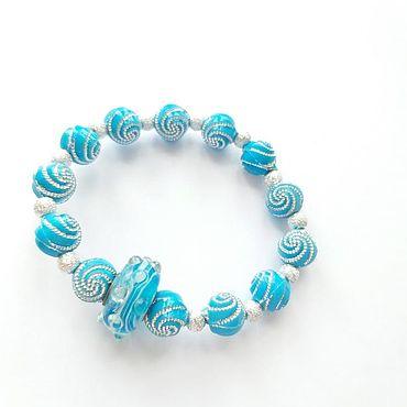 Украшения ручной работы. Ярмарка Мастеров - ручная работа Браслет голубой для девочек. Handmade.
