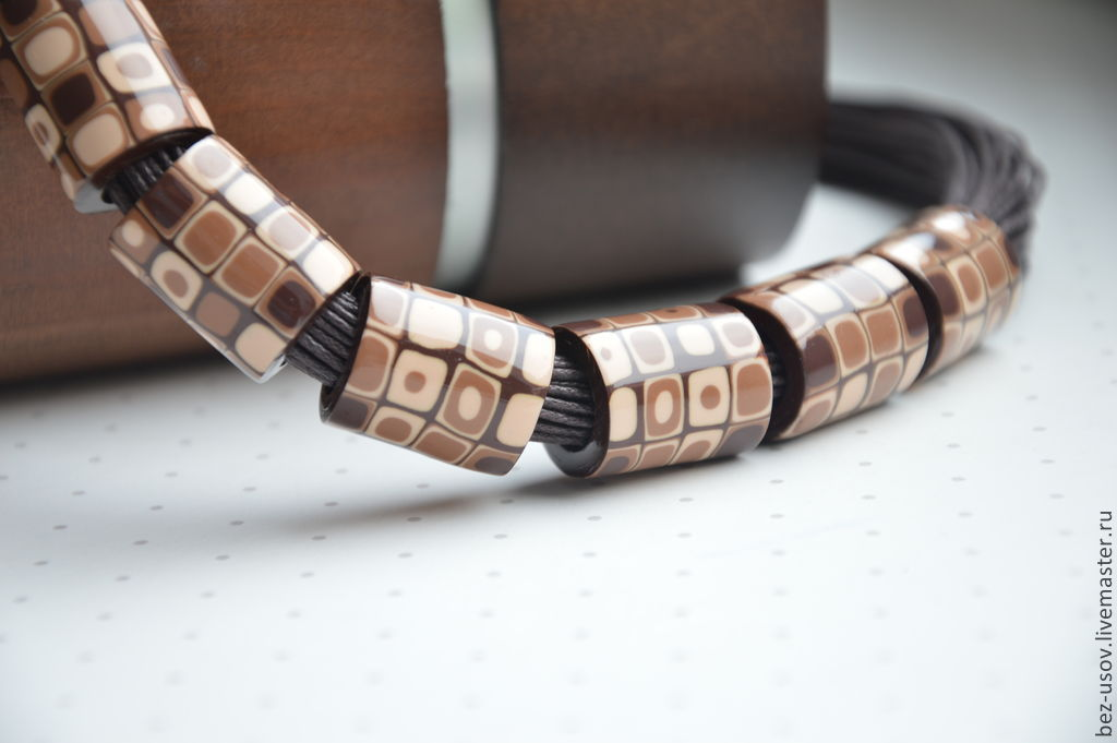 Choker 'Chocolate' on cotton cords, Necklace, Domodedovo,  Фото №1