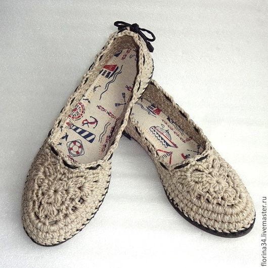 Обувь ручной работы. Ярмарка Мастеров - ручная работа. Купить Балетки вязаные Helen, серый, лен. Handmade. туфли женские