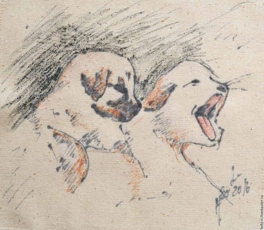 """Животные ручной работы. Ярмарка Мастеров - ручная работа. Купить """"Мы зеваем!"""" декоративное панно, картина, холст, батик. Handmade."""