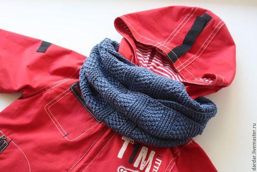 """Шапки и шарфы ручной работы. Ярмарка Мастеров - ручная работа. Купить Снуд для мальчика """"Джинсовый"""". Handmade. Синий, шарф для мальчика"""