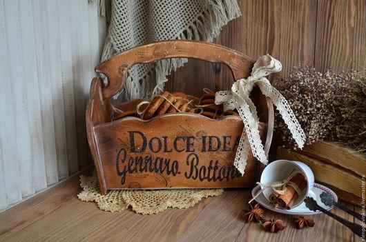 Короб для выпечки в стиле старого итальянского кантри. Необычные декор для сервировки стола. Оригинальный подарок любителям блюд итальянской кухни.