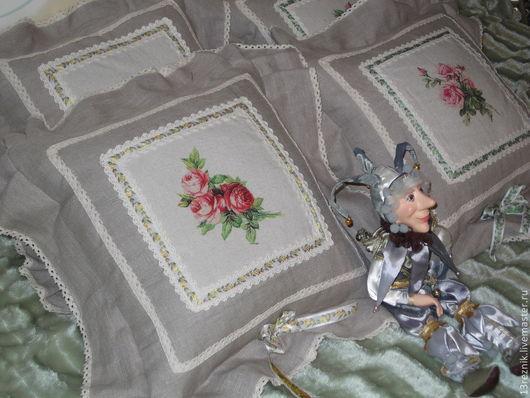 Текстиль, ковры ручной работы. Ярмарка Мастеров - ручная работа. Купить Подушки из льна. Handmade. Бежевый, розы, подушка декоративная