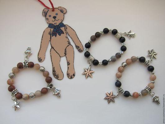 Детская бижутерия ручной работы. Ярмарка Мастеров - ручная работа. Купить Детские браслеты-обереги. Handmade. Синий, браслет из камней