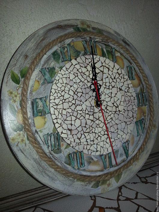 """Часы для дома ручной работы. Ярмарка Мастеров - ручная работа. Купить Настенные часы """"Лимонад"""". Handmade. Комбинированный, кухня, прованс"""