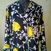 """Одежда ручной работы. Ярмарка Мастеров - ручная работа Блузка из атласа в """" пижамном стиле"""".. Handmade."""