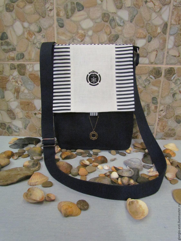 Сумки и аксессуары ручной работы. Ярмарка Мастеров - ручная работа. Купить Льнаная сумка через плечо в морском стиле. Handmade.