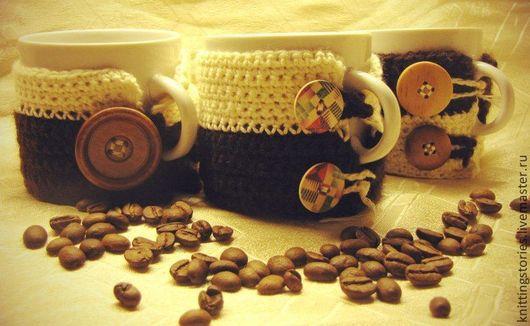 """Подарки для влюбленных ручной работы. Ярмарка Мастеров - ручная работа. Купить Кружка в вязаной грелочке  """"Кофе для любимой"""". Handmade."""