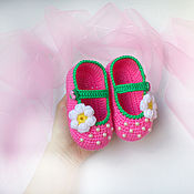Работы для детей, ручной работы. Ярмарка Мастеров - ручная работа Пинетки туфельки, пинетки, пинетки ручной работы, розовые, с цветком. Handmade.