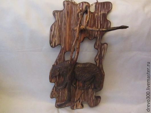 """Животные ручной работы. Ярмарка Мастеров - ручная работа. Купить Панно """"Медведь"""". Handmade. Коричневый, медведь, ёль, лак"""