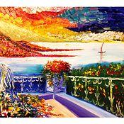 Картины и панно ручной работы. Ярмарка Мастеров - ручная работа Вид на горы. Handmade.