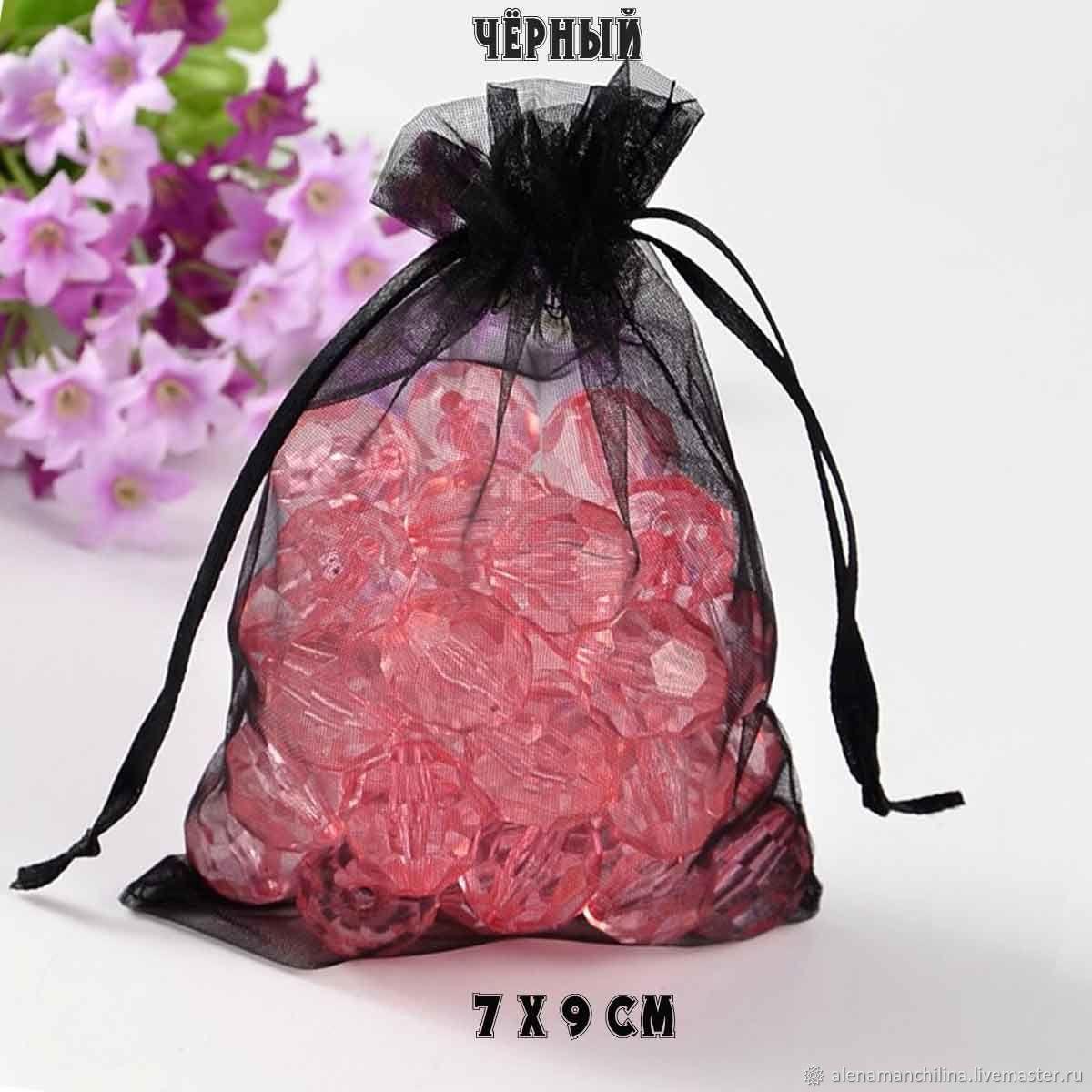 Мешочек 7х9 см. черного цвета из органзы, Упаковка, Вольск, Фото №1