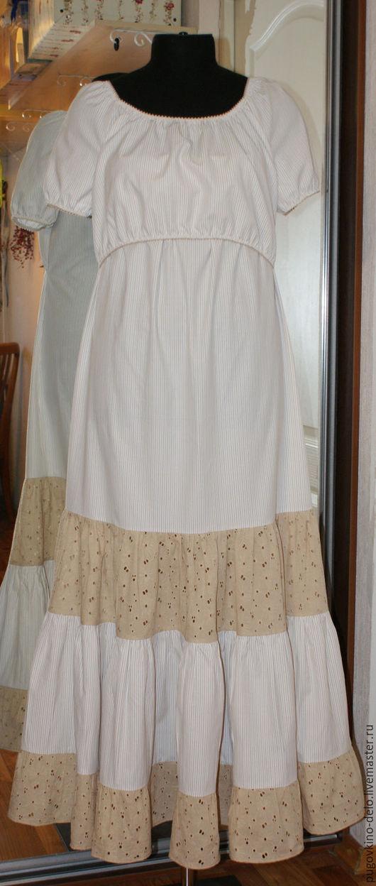 Платья ручной работы. Ярмарка Мастеров - ручная работа. Купить Платье хлопковое нижнее для кормящей мамы. Handmade. В полоску