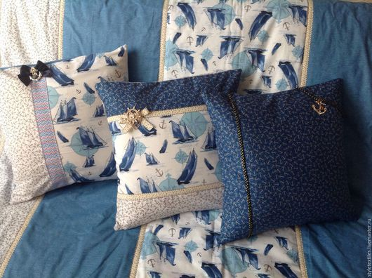 Текстиль, ковры ручной работы. Ярмарка Мастеров - ручная работа. Купить Интерьерные подушечки в морском стиле из американского хлопка. Handmade.