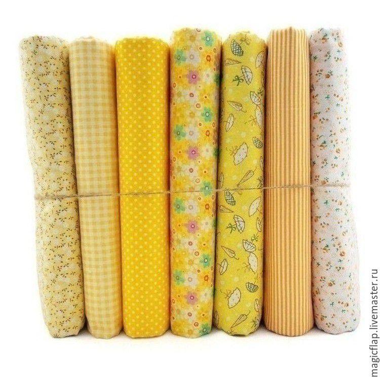 Набор тканей хлопок Солнечный Желтый. Для текстиля, пэчворка, игрушек, Шитье, Истра, Фото №1