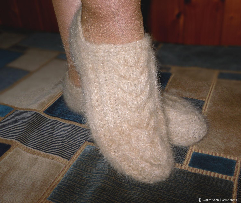 Women's knitted slippers Colour of ecru, Socks, Klin,  Фото №1