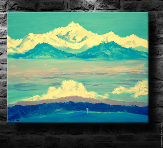 """Картины цветов ручной работы. Ярмарка Мастеров - ручная работа. Купить Картина авторская  масло холст """"Величественные Горы Непала"""". Handmade."""