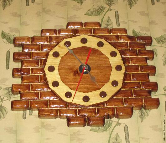 Часы для дома ручной работы. Ярмарка Мастеров - ручная работа. Купить Часы-Кирпичики настенные деревянные.. Handmade. Коричневый