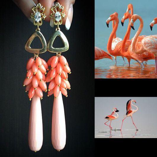 """Серьги ручной работы. Ярмарка Мастеров - ручная работа. Купить Серьги """"Фламинго"""". Handmade. Коралловый, длинные серьги, розовые серьги"""