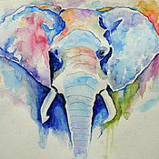 Картины и панно ручной работы. Ярмарка Мастеров - ручная работа Рисунок акварелью Слон. Handmade.