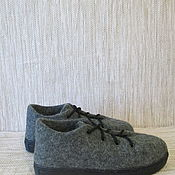 Обувь ручной работы. Ярмарка Мастеров - ручная работа Войлочные ботинки Серый меланж. Handmade.