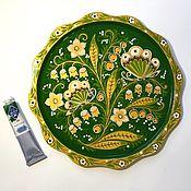 Подносы ручной работы. Ярмарка Мастеров - ручная работа Поднос расписаны в стиле хохломской росписи в зелёном и ультрамарин. Handmade.
