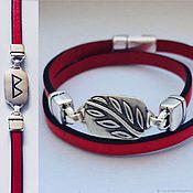 Украшения handmade. Livemaster - original item Bracelet with the rune berkana - femininity, peace in the family. Silver, leather. Handmade.