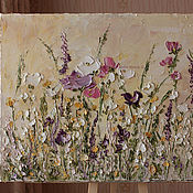 Картины и панно handmade. Livemaster - original item Bouquet of flowers pattern yellow purple flowers palette knife buy. Handmade.