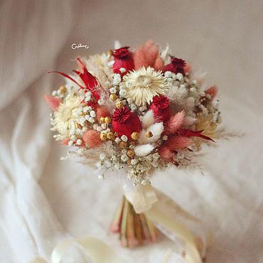 Свадебный салон ручной работы. Ярмарка Мастеров - ручная работа Пушистый Красный (свадебный букет). Handmade.