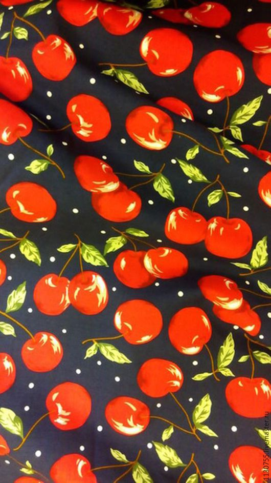 Шитье ручной работы. Ярмарка Мастеров - ручная работа. Купить Ткань хлопок поплин  вишни красные. Handmade. Комбинированный