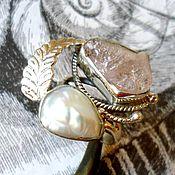 """Украшения ручной работы. Ярмарка Мастеров - ручная работа """"Сицилия"""" розовый кварц, жемчуг, ажурное серебро 925. Handmade."""