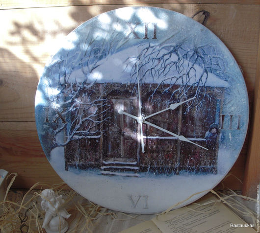 """Часы для дома ручной работы. Ярмарка Мастеров - ручная работа. Купить Часы для интерьера  """"Sashobao"""" (Сашобао). Handmade. Синий, рождество"""