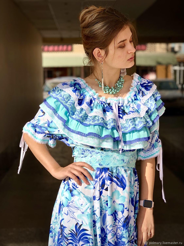 Платье из хлопка длинное в стиле бохо Камелия, лаванда и тиффани, Платья, Ташкент,  Фото №1
