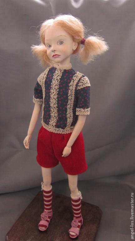 Портретные куклы ручной работы. Ярмарка Мастеров - ручная работа. Купить Туся. Handmade. Желтый, авторская кукла, хлопок 100%