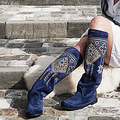 Обувь ручной работы handmade. Livemaster - original item boots: Blue high boots with an embroidered boot- Euro winter - Autumn. Handmade.