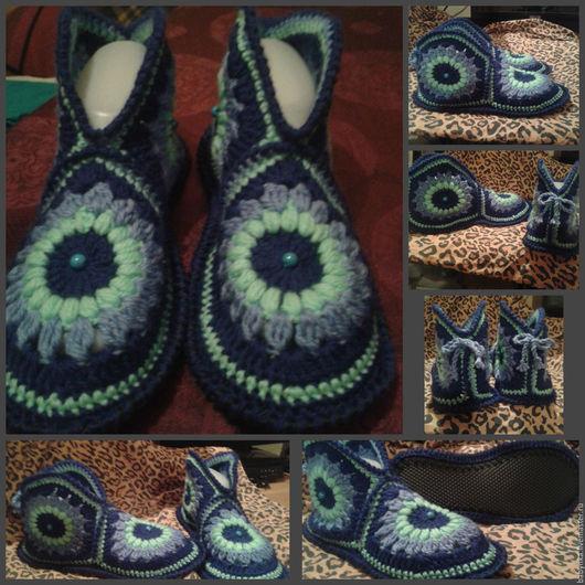 Обувь ручной работы. Ярмарка Мастеров - ручная работа. Купить Домашние тапочки на кожаной подошве.. Handmade. Комбинированный, связано с душой