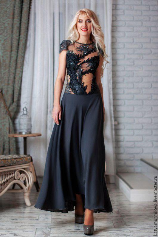 Платья ручной работы. Ярмарка Мастеров - ручная работа. Купить Вечернее платье из натуральной кожи, кружева и шелка. Handmade.