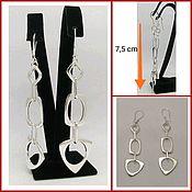 Украшения handmade. Livemaster - original item Hanging Long Earrings. large earrings. Geometric Earrings. Silver. Handmade.