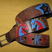 Аксессуары handmade. Livemaster - original item CSKA strap leather. Handmade.